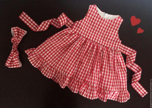 Одежда для девочек, ручной работы. Ярмарка Мастеров - ручная работа. Купить набор №8 в двух экземплярах. Handmade. В клеточку