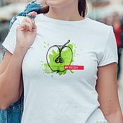 handmade. Livemaster - original item t-shirt: Women`s t-shirt Juicy Apple. Handmade.