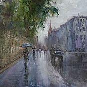 Картины и панно handmade. Livemaster - original item The author`s oil painting cityscape oil painting on canvas Peter rain. Handmade.