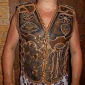 Одежда ручной работы. Ярмарка Мастеров - ручная работа Жилет мужской  байкерский из натуральной кожи буйвола.. Handmade.