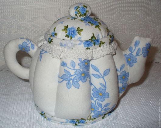 Шкатулки ручной работы. Ярмарка Мастеров - ручная работа. Купить Текстильный чайник. Handmade. Голубой, интерьерное украшение, подарок подруге