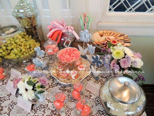 Свадебные цветы ручной работы. Ярмарка Мастеров - ручная работа. Купить Сладкий стол. Handmade. Свадьба, цветочное оформление, стекло