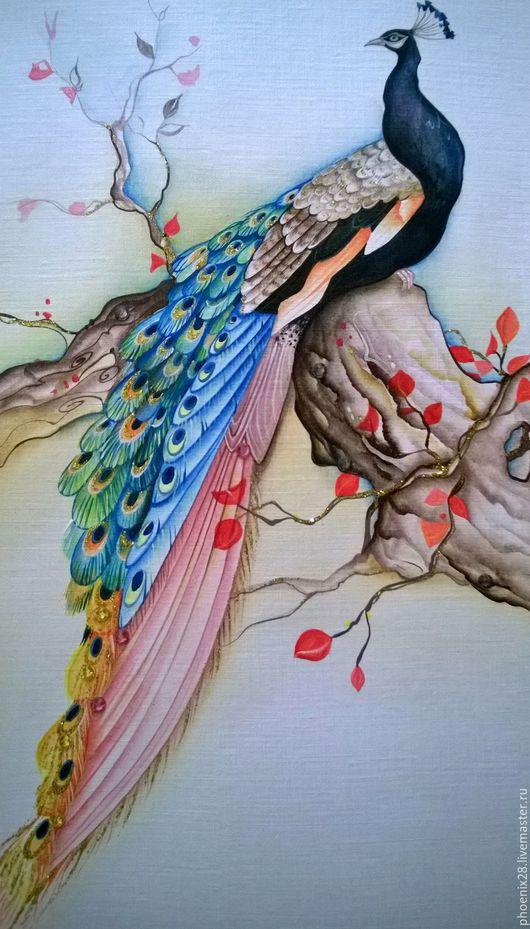 """Открытки на все случаи жизни ручной работы. Ярмарка Мастеров - ручная работа. Купить Авторская открытка """"Павлин"""", ручная роспись, акрил. Handmade."""