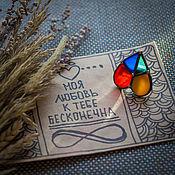 Brooches handmade. Livemaster - original item Glass Brooch Hippie heart for Valentine`s day. Handmade.