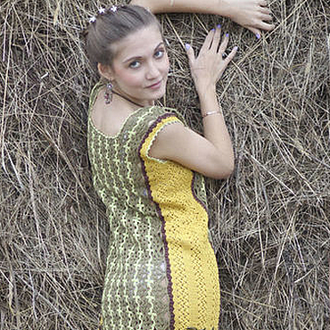 Одежда ручной работы. Ярмарка Мастеров - ручная работа Платье в русском стиле вязаное крючком хлопок мини платье. Handmade.