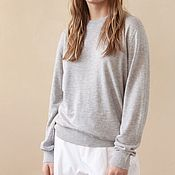 Одежда handmade. Livemaster - original item Knitted women`s pullover Gray Flower. Handmade.