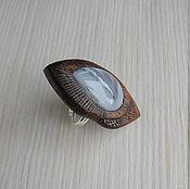 Украшения ручной работы. Ярмарка Мастеров - ручная работа Кольцо деревянное с агатом. Handmade.