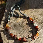 handmade. Livemaster - original item Necklace with agate, jasper and birds. Handmade.