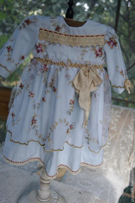 Одежда для кукол ручной работы. Ярмарка Мастеров - ручная работа. Купить Платье для антикварной куклы. Handmade. Голубой, кружево