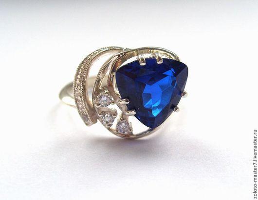 Кольца ручной работы. Ярмарка Мастеров - ручная работа. Купить Кольцо с синим корундом. Handmade. Тёмно-синий, серебряное кольцо
