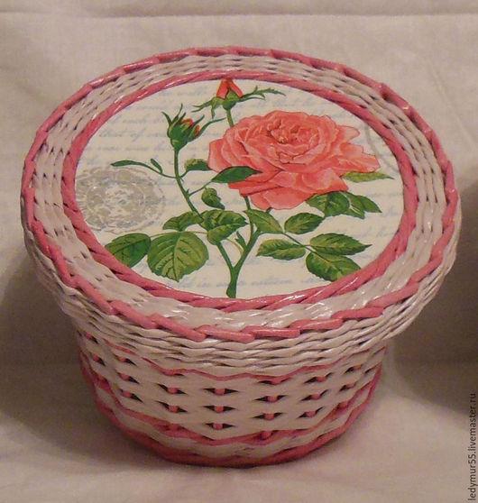 Шкатулки ручной работы. Ярмарка Мастеров - ручная работа. Купить Шкатулка розовая. Handmade. Розовый, плетение из бумаги, плетеная корзина