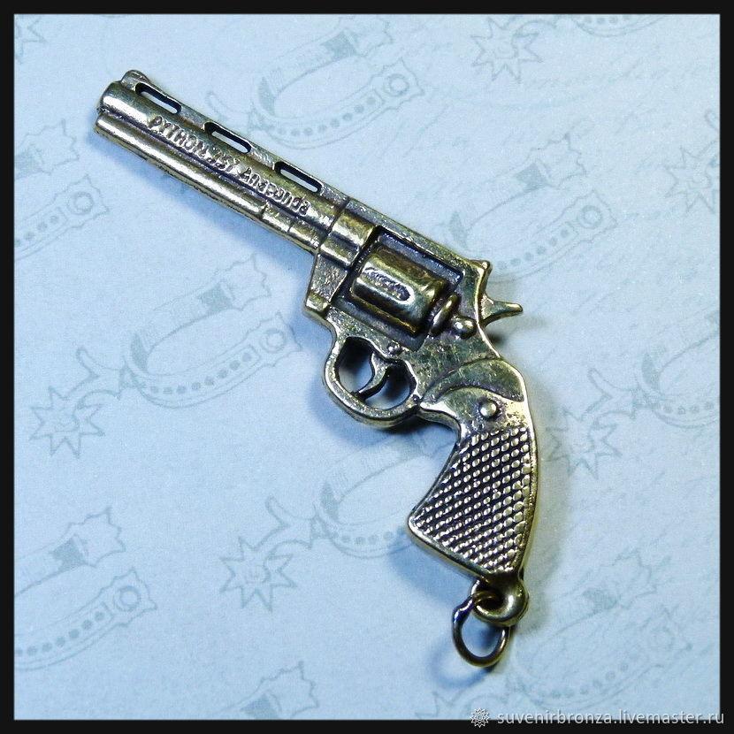 "Брелок для ключей ""Кольт"" (2) бронза сувенир"