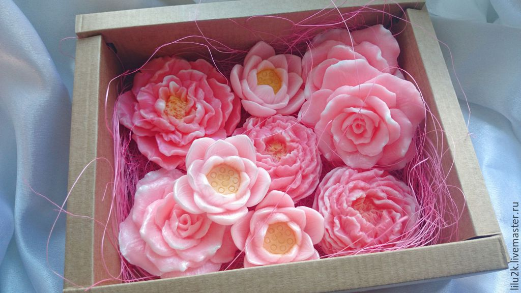 Подарочный набор мыла цветы.Подарок девушке. Подарок на день рождения. Подарок на день учителя. Подарочные наборы. Мыло роза. Мыло лилия. мыло пион.