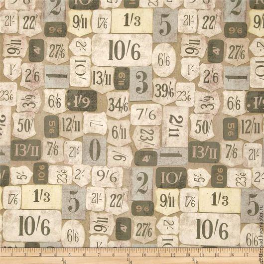 """Шитье ручной работы. Ярмарка Мастеров - ручная работа. Купить Ткань - Тим Хольц. """" Номерки-2 """". 100% хлопок. АРТ.№ 1495. Handmade."""