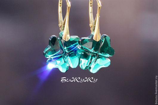 """Серьги ручной работы. Ярмарка Мастеров - ручная работа. Купить Серьги """"Lucky"""" (Сваровски). Handmade. Кристаллы swarovski, зеленый кристалл"""