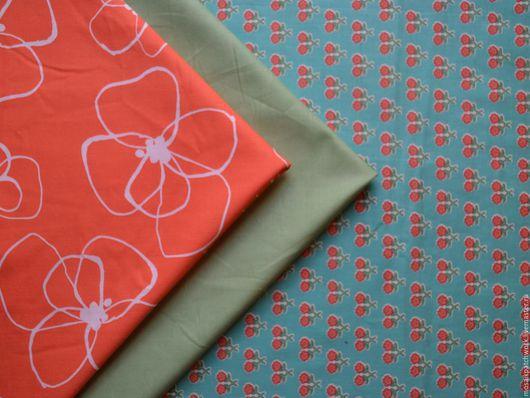 """Шитье ручной работы. Ярмарка Мастеров - ручная работа. Купить Набор хлопка для пэчворка """"Цветы на зеленом"""". Корея. Handmade. Разноцветный"""