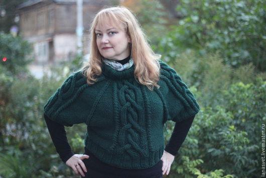 """Кофты и свитера ручной работы. Ярмарка Мастеров - ручная работа. Купить Пуловер-пончо """"Изумрудный остров"""".. Handmade. Тёмно-зелёный"""
