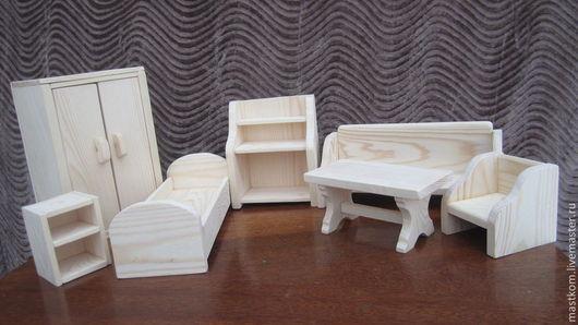 Кукольный дом ручной работы. Ярмарка Мастеров - ручная работа. Купить Набор кукольной мебели. Handmade. Бежевый, деревянная мебель