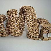"""Аксессуары ручной работы. Ярмарка Мастеров - ручная работа """"Ореховый  шарм"""", плетёный ремень, бежевый,  макраме. Handmade."""