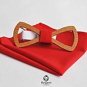 Аксессуары handmade. Livemaster - original item Wooden butterfly tie Marlboro red pocket square Pasha. Handmade.