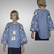 Одежда ручной работы. Ярмарка Мастеров - ручная работа Размер M Вышитая блузка рубашка Вита Кин Стиль. Handmade.