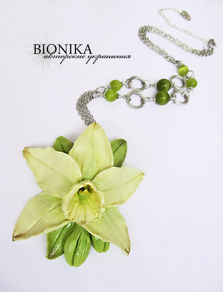 Large pendant made of polymer clay with flower of vanilla ' Vanilla', Pendants, Voronezh,  Фото №1