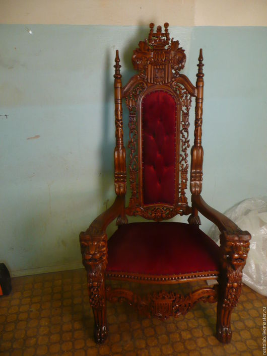 Реставрация. Ярмарка Мастеров - ручная работа. Купить Резной трон. Отделка эмалью и перетяжка.. Handmade. Белый, резьба по дереву, лак