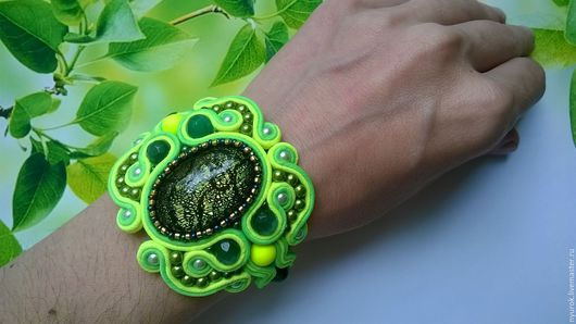 """Браслеты ручной работы. Ярмарка Мастеров - ручная работа. Купить Сутажный браслет """"Лайм"""". Handmade. Ярко-зелёный, лаймовый"""