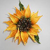 Украшения handmade. Livemaster - original item FABRIC FLOWERS. Brooch-barrette SILK SUNFLOWER. leather. Handmade.