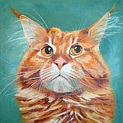 Картины и панно handmade. Livemaster - original item Painting red cat maincoon Painting of interior on canvas. Handmade.