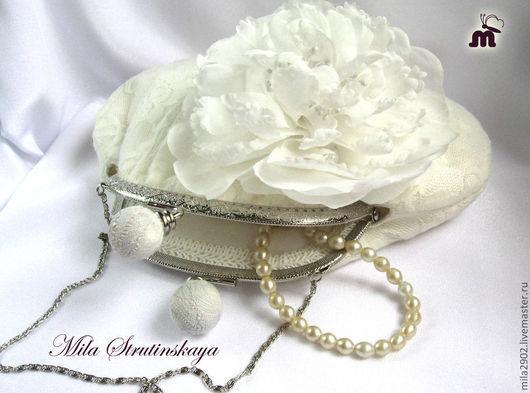 Броши ручной работы. Ярмарка Мастеров - ручная работа. Купить Свадебный белый пион брошь из шелка   (из шифона). Handmade.