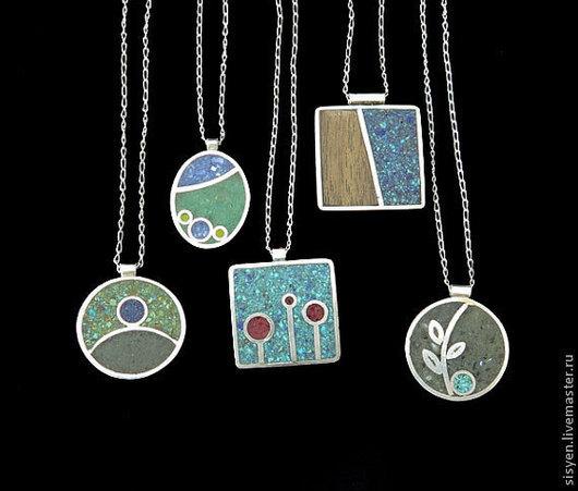 Кулоны, подвески ручной работы. Ярмарка Мастеров - ручная работа. Купить Кулон с натуральным камнем и стеклом, ,подвеска,серебро. Handmade.