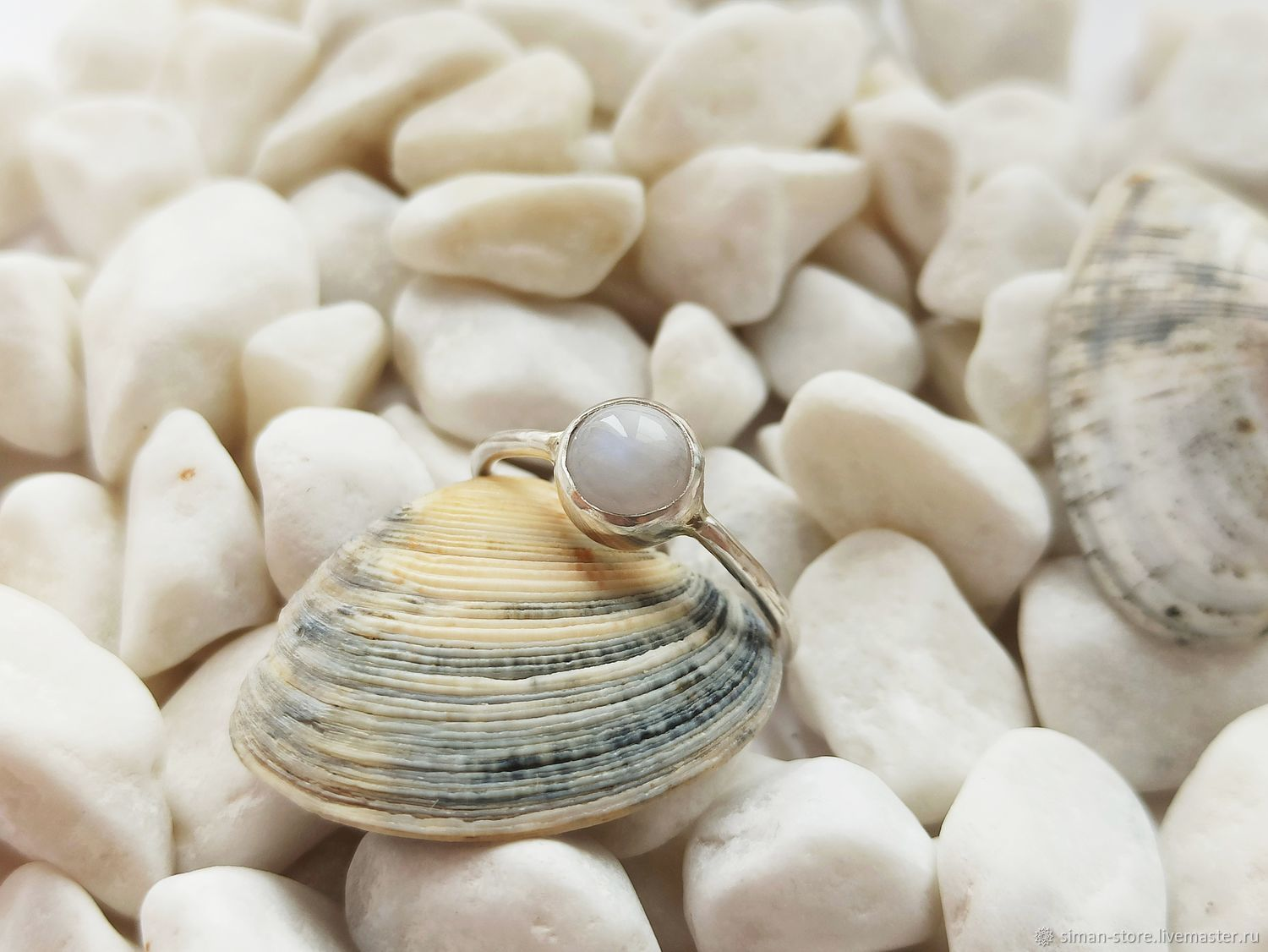 Ring silver with a moonstone, Rings, St. Petersburg,  Фото №1