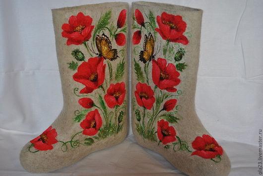 """Обувь ручной работы. Ярмарка Мастеров - ручная работа. Купить Валенки """"МАКИ"""". Handmade. Белый, эксклюзив, обувь, маки, роспись"""