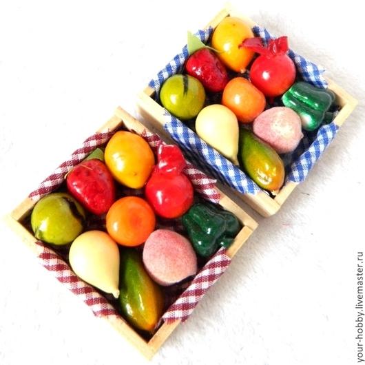 Куклы и игрушки ручной работы. Ярмарка Мастеров - ручная работа. Купить Аксессуары для кукол. Ящик с фруктами и овощами. Handmade.