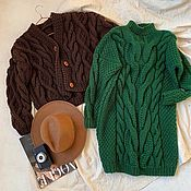 Одежда handmade. Livemaster - original item dresses: Handmade knitted dress in grass color. Handmade.