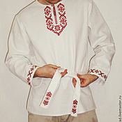 Русский стиль handmade. Livemaster - original item Russian shirt with embroidery Radomir. Handmade.