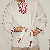 Русский стиль handmade. Livemaster - original item Russian shirt with embroidery Radomir. Handmade.