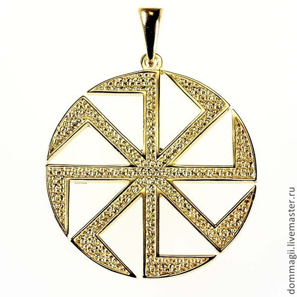 Kolovrat of bilateral 35 mm gold, Amulet, Moscow,  Фото №1