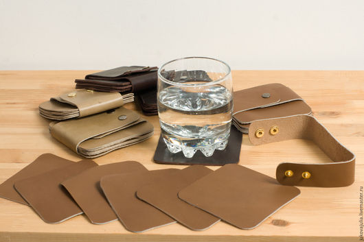 Подарочные наборы ручной работы. Ярмарка Мастеров - ручная работа. Купить Набор подставок под стаканы из натуральной кожи Подставка Бирмат. Handmade.