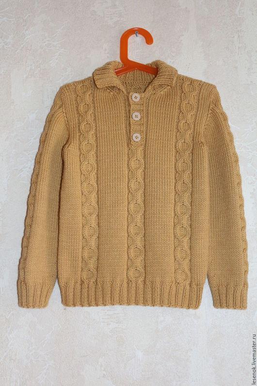 Одежда для мальчиков, ручной работы. Ярмарка Мастеров - ручная работа. Купить Джемпер для мальчика с воротником поло. Handmade. Оранжевый, карамель