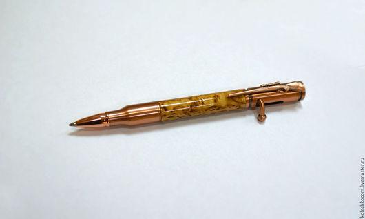 Карандаши, ручки ручной работы. Ярмарка Мастеров - ручная работа. Купить Авторучка подарочная Патрон с затвором в корпусе из карельской березы. Handmade.