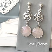 Украшения handmade. Livemaster - original item Earrings Morning Rose pink quartz silver stud earrings delicate. Handmade.