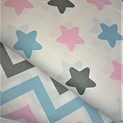 Ткани ручной работы. Ярмарка Мастеров - ручная работа Ткань Розово-голубые звезды и зигзаг, сатин, 100% хлопок. Handmade.