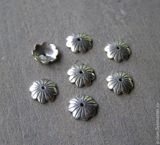 Для украшений ручной работы. Ярмарка Мастеров - ручная работа. Купить Шапочки для бусин из серебра 925 пробы, Бали СБ45. Handmade.
