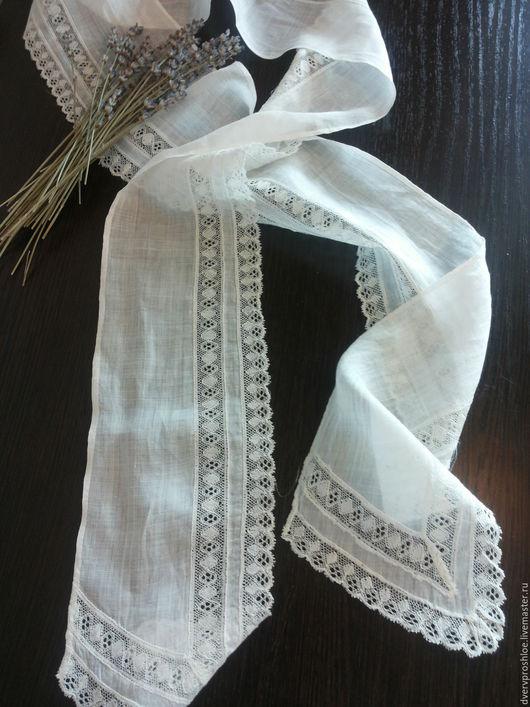 Винтажная одежда и аксессуары. Ярмарка Мастеров - ручная работа. Купить Антикварный батистовый шарф-ручная работа. Handmade. Белый