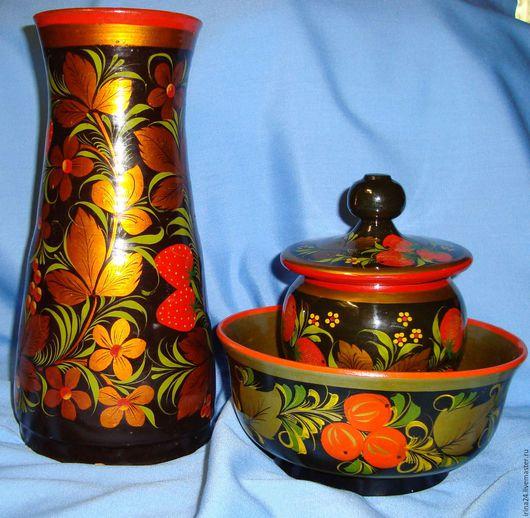 Винтажная посуда. Ярмарка Мастеров - ручная работа. Купить Набор хохломы.. Handmade. Комбинированный, винтажная посуда, ваза для цветов, глина