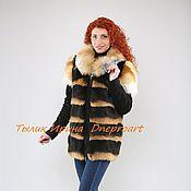 Одежда ручной работы. Ярмарка Мастеров - ручная работа Шубка-куртка-жилет из черно-огненного кролика с лисой. Handmade.