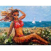 Картины и панно handmade. Livemaster - original item Picture of a girl on the beach. Sea, summer, beach.. Handmade.