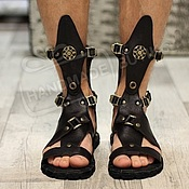 Обувь ручной работы handmade. Livemaster - original item sandals high leather dark chocolate with no membrane. Handmade.